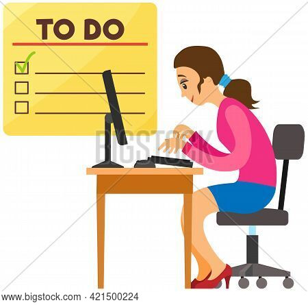 Businesswoman Is Working With Computer At Workplace. Female Character Planning Schedule To Finish Ta