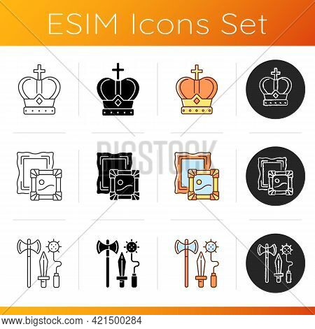 Ancestors Heritage Icons Set. Royal Crown. Museum Collections. Knight Weapons. Coronation Ceremony.