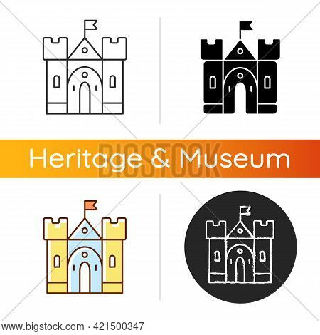 Medieval Castle Icon. Historic Building. Fortress, Palace. Housing, Fortification. Middle Ages. Fort