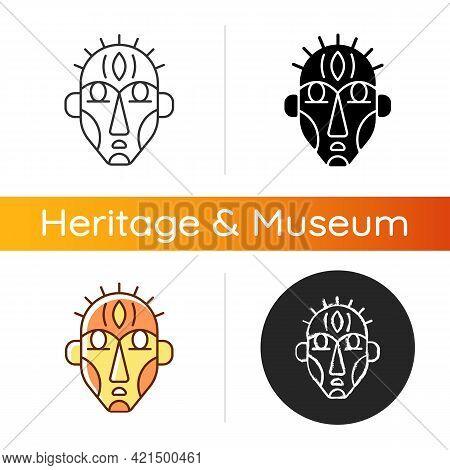 Ritual Masks Icon. Supernatural Beings, Ancestors Representation. Ceremonial, Decorative Mask. Using