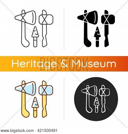 Stone Age Weapons Icon. Hand Axes, Scrapers. Hunting, Cutting Up Meat. Spears And Arrows. Hammerston