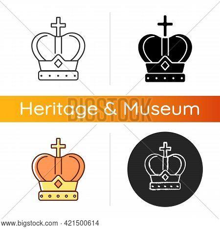 Royal Crown Icon. Head Adornment For Monarchs. Royal Family Jewels. Coronation Ceremony. Emperor, Ki