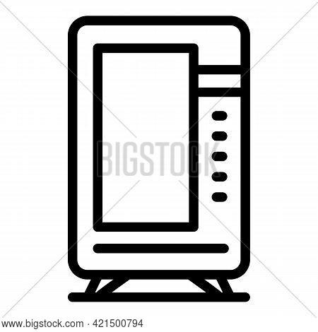 Vending Fridge Icon. Outline Vending Fridge Vector Icon For Web Design Isolated On White Background