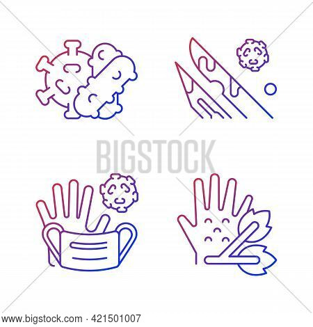 Infectious Bio Waste Gradient Linear Vector Icons Set. Plants Pathogens. Waste Which Contains Infect