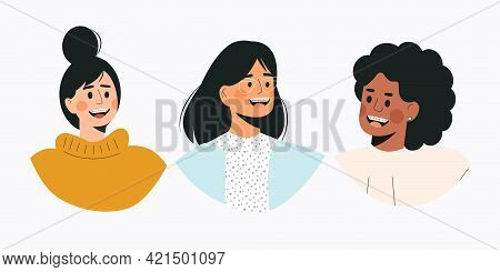 Portrait Of Diverse Women With Dental Braces. Girls With Braces On Teeth. Multicultural Young Female