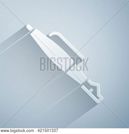 Paper Cut Fountain Pen Nib Icon Isolated On Grey Background. Pen Tool Sign. Paper Art Style. Vector