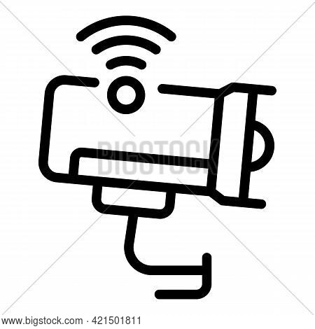Wireless Video Camera Icon. Outline Wireless Video Camera Vector Icon For Web Design Isolated On Whi