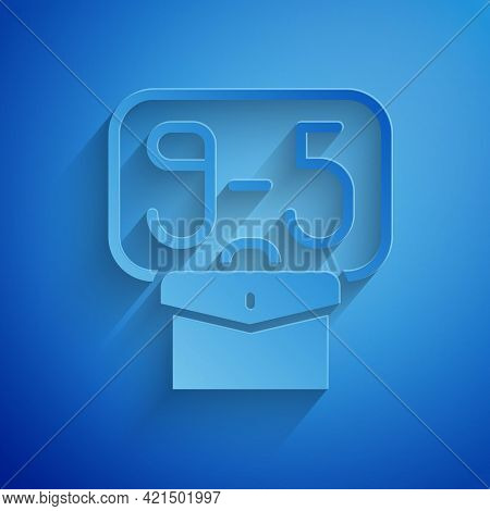 Paper Cut From 9:00 To 5:00 Job Icon Isolated On Blue Background. Concept Meaning Work Time Schedule