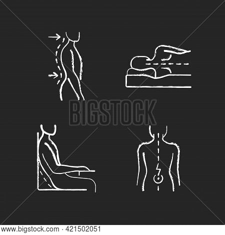 Postural Dysfunction Chalk White Icons Set On Black Background. Lumbar Lordosis. Side-lying Sleeping