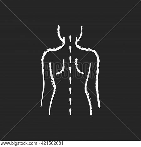 Good Posture Chalk White Icon On Black Background. Normal Spine. Normal Spinal Anatomy. Holding Body