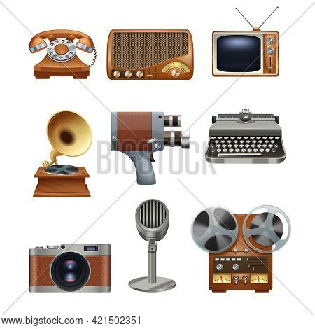 Retro Nostalgic Pictograms Collection Of Antique Mechanical Typewriter And Gramophone Vinyl Records