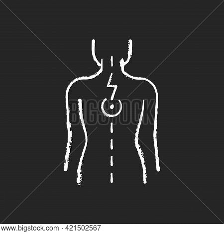 Pressure On Spinal Nerves Chalk White Icon On Black Background. Muscle Spasms. Pain Between Shoulder