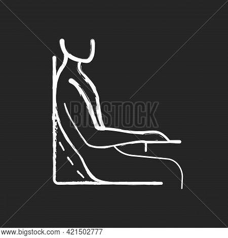 Bad Sitting Habit Chalk White Icon On Black Background. Leaning Back Into Chair Backrest. Incorrect