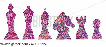 Colorful Collection King, Queen, Bishop, Knight, Rook And Pawn Chess Pieces, Each Figure With Its Ow