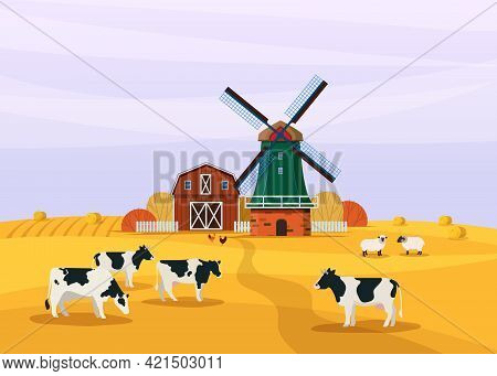 Countryside Scene With Windmill, Barn And Agriculture Field. Cows And Sheep Graze In The Meadow. Far