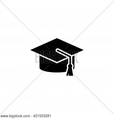 Graduation Cap, Student Education Hat. Flat Vector Icon Illustration. Simple Black Symbol On White B