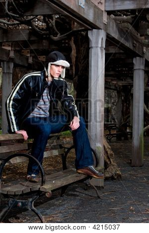 Hnadsome Man On Bench
