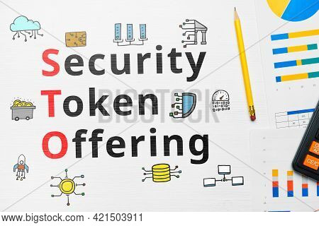 Concept Sto Or Security Token Offering With Abstract Icons