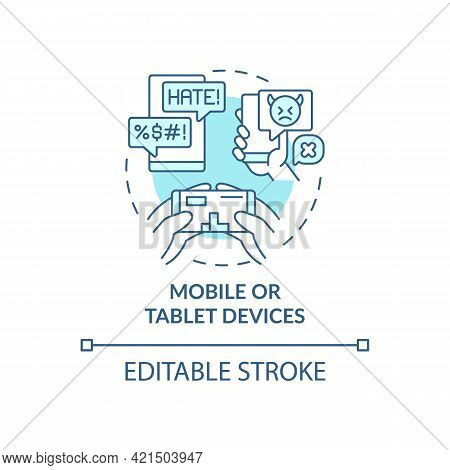 Mobile And Tablet Devices Concept Icon. Cyberbullying Channel Idea Thin Line Illustration. Sending A