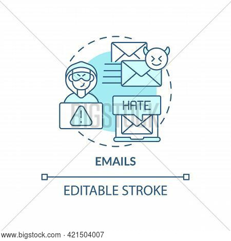 Emails Concept Icon. Cyberbullying Channel Idea Thin Line Illustration. Electronic Sabotage. Interne