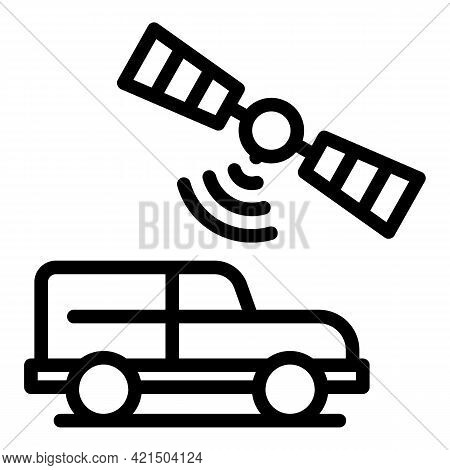 Satellite Control Car Icon. Outline Satellite Control Car Vector Icon For Web Design Isolated On Whi