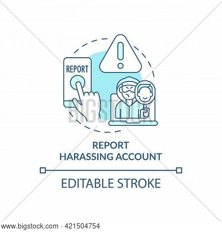 Reporting Harassing Account Concept Icon. Cyberbullying Prevention Idea Thin Line Illustration. Bloc
