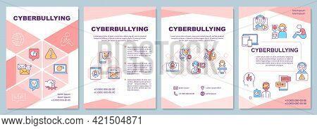 Cyberbullying Brochure Template. Online Threats. Cyberharassment. Flyer, Booklet, Leaflet Print, Cov