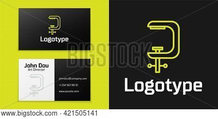 Logotype Line Clamp And Screw Tool Icon Isolated On Black Background. Locksmith Tool. Logo Design Te