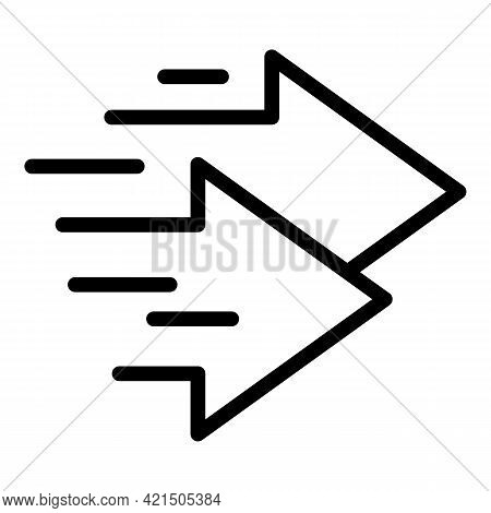 Fast Arrows Icon. Outline Fast Arrows Vector Icon For Web Design Isolated On White Background