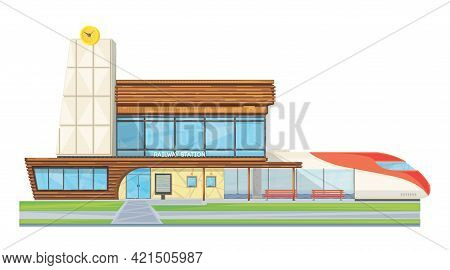 Modern Steel Glass Railway Station Building Front View Flat Image With Speed Intercity Train Vector