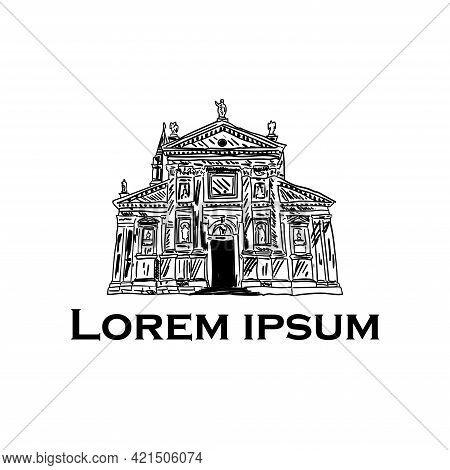 Building Of Ethnographic Museum, Hand Drawn, Vector