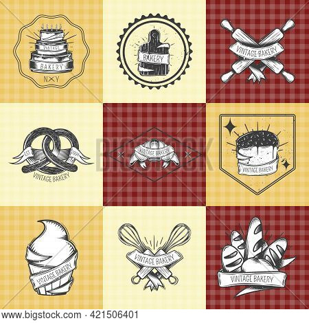 Bakery Vintage Compositions Set With Pastry, Bread, Culinary Tools On Beige And Checkered Background