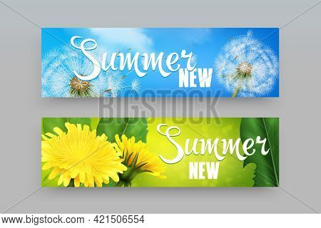 Realistic Horizontal Banners In Blue And Green Color With Dandelion Flowers And Fluff Isolated On Gr