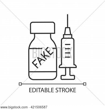Fake Vaccine Linear Icon. False Covid Drug. Fraudulent Medication. Disease Treatment Problem. Thin L