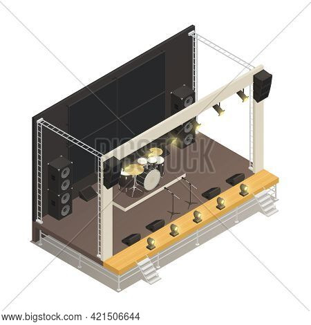 Truss Construction Of Outdoor Festival Stage With Powerful Audio Amplifiers And Drums Isometric Desi