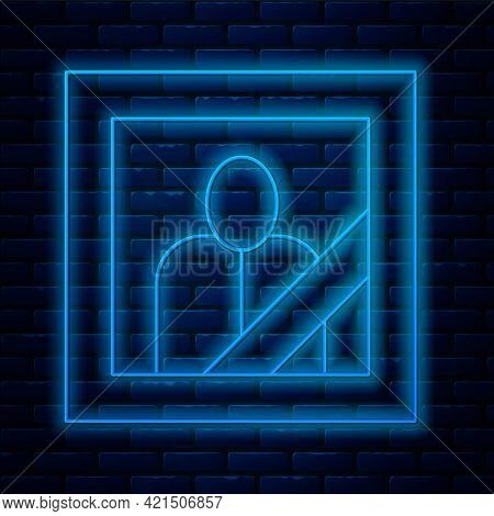 Glowing Neon Line Mourning Photo Frame With Black Ribbon Icon Isolated On Brick Wall Background. Fun
