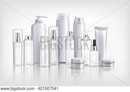 Realistic Background With Collection Of Different Cosmetics Containers  Tubes And Jars For Cream Oil