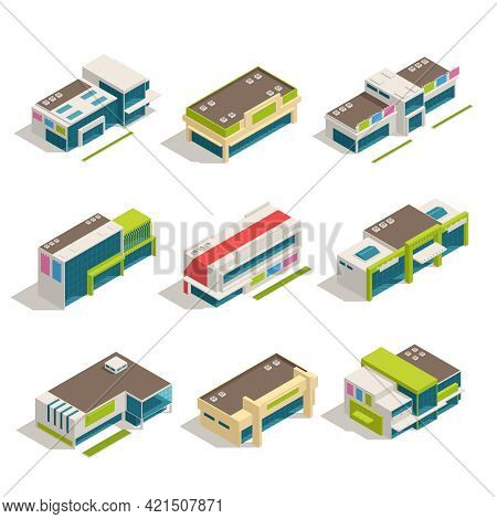 Nine Isolated Store Mall Shopping Center Isometric Buildings Icon Set Top View Vector Illustration