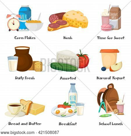 Milk Food Decorative Icons Set With Corn Flakes Dairy Fresh Products School Lunch Breakfast Isolated