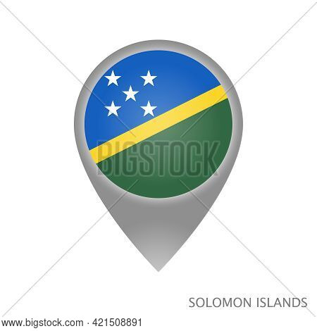 Map Pointer With Flag Of Solomon Islands. Solomon Islands Pointer Map Isolated Icon. Vector Illustra