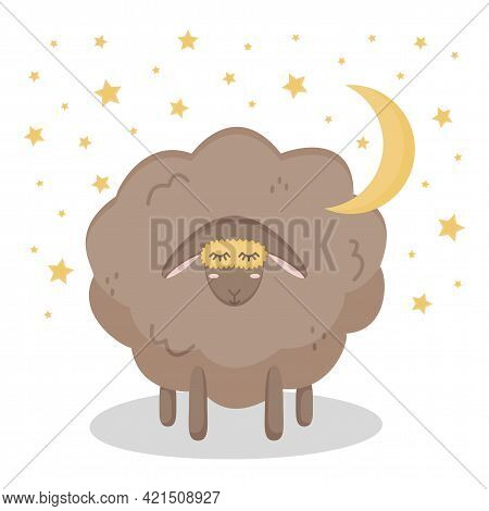 Cute Brown Sheep In Sleep Mask With Stars And Moon. Isolated Animal On A White Background. Poster Fo