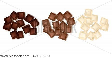 Set Of Three Isolated Realistic Colorful Turds Of Chocolate Slices Representing Dark Milk And White
