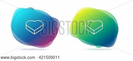 Set Line Candy In Heart Shaped Box And Bow Icon Isolated On White Background. Valentines Day. Abstra