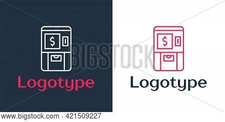 Logotype Line Atm - Automated Teller Machine And Money Icon Isolated On White Background. Logo Desig