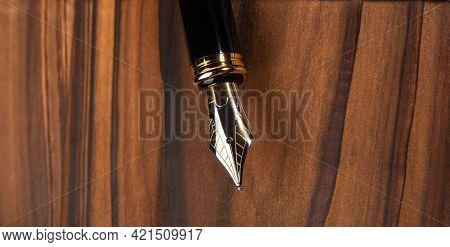 Fountain Pen, Beautiful Fountain Pen In Detail On Rustic Wood, Selective Focus.