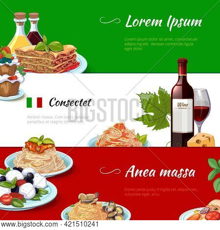 Italian Food Horizontal Banners Set. Cuisine And Pasta, Italy, Nutrition Cheese Macaroni, Culinary T