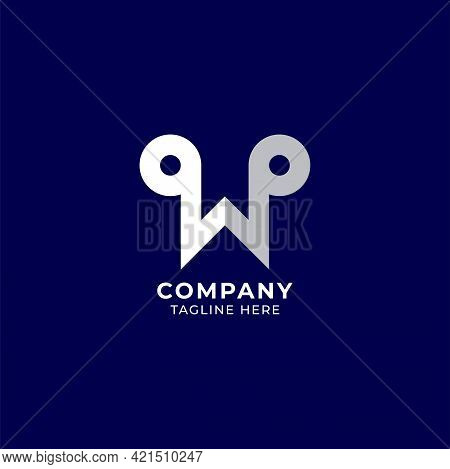 Letter W Alphabet Music Logo Design Isolated On Navy Blue Background. Initial And Musical Note, Quav
