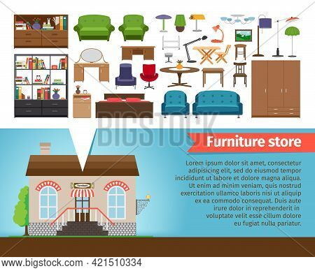Furniture Store Set. Interior Design Home, Shop For Room And House, Chair And Table, Shelf Chandelie