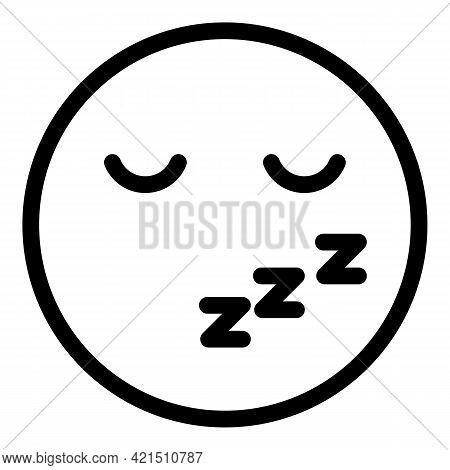 Sleepy Emoji Icon. Outline Sleepy Emoji Vector Icon For Web Design Isolated On White Background