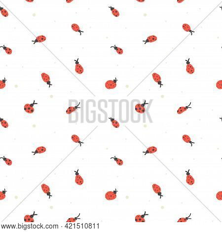 Seamless Pattern With Abstract Ladybirds. Summer Vector Illustration